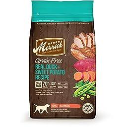 Merrick Grain Free Real Duck + Sweet Potato Recipe Dry Dog Food, 25-Pound