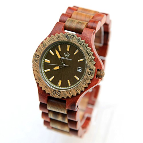Topwell� Water Resistent Green Wooden wristwatches with Date Function 2-tone Mechanical design Fashion Men Red Women Wooden Wristwatches 100% Natural Wood Watch NEW Design Japan quartz movement gift watch Green and Red