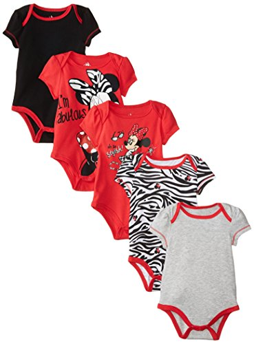 Disney Baby Girls  Girl Minnie 5 Pack Creeper, Red, 3-6 Months