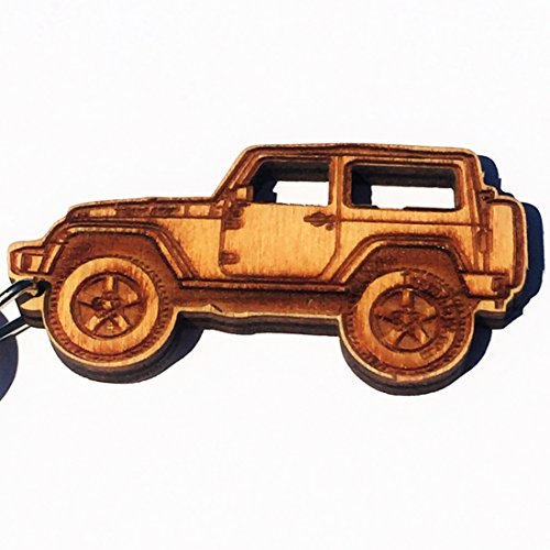Wooden JK Jeep Wrangler Key Chain for Jeep Enthusiasts