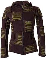 Vishes - Alternative Bekleidung - Damen Patchwork Jacke mit Cutwork und Zipfelkapuze