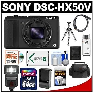 Sony Cyber-Shot DSC-HX50V GPS Wi-Fi Digital Camera (Black) with 64GB Card + Flash + Battery & Charger + Case + Flex Tripod + Accessory Kit