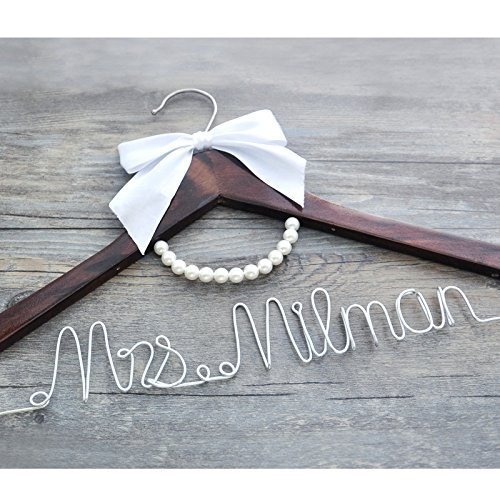 Personalized Bridal Dress Hanger Wire Hanger, Custom Bridal Dress Hanger Bride Shower Gift , Custom Wedding Dress Hanger Wedding Name Hanger Personalized Bride Bridesmaid Wedding Hanger