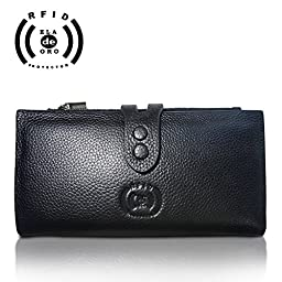 Eladeoro Womens Wallet RFID GEnuine Leather Card ID Theft Protector