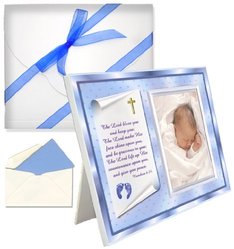 "Baptism Christening Gifts Baby Blessing Picture Frame -- ""Numbers 6:24-26"" - Boy"