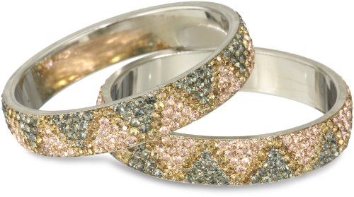 Chamak by priya kakkar Peach and Gray Set of 2 Zig-Zag Print Crystal Bangle Bracelet