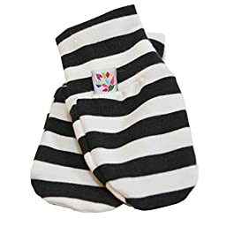 Black and White Stripe Scratch Mittens