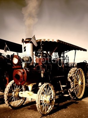 "Wallmonkeys Peel and Stick Wall Decals - Old Steam Engine Tractor - 18""H x 13""W Removable Graphic"