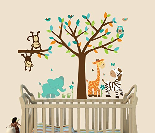 Wild About Teal, Jungle Wall Decals, Jungle Stickers, Fabric Tree Decal, Kids Room