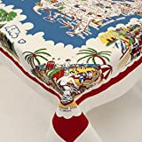 American Wonderland Cotton Tablecloth USA Map Staycation