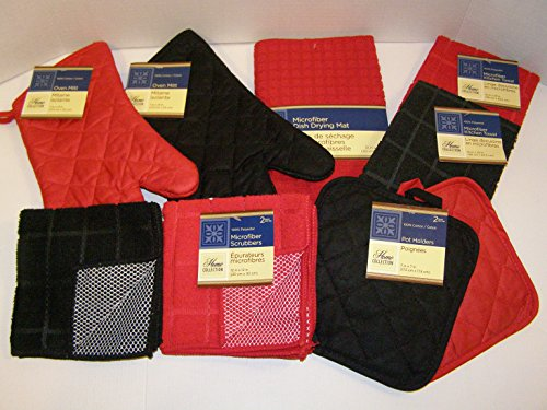 Bundle of Kitchen Linens by Home Collection Featuring: 2 Kitchen Towels, 2 Pot Holders, 2 Oven Mitts, 3 Dishcloths, 1 Dish Drying Mat (10 Piece Bundle, Solid Red & Black) (Red And Black Dishes compare prices)