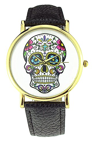 Shot-In 2014 Fashion Sport Watch Geneva Skull Gold Analog Leather Quartz Watch (Black)