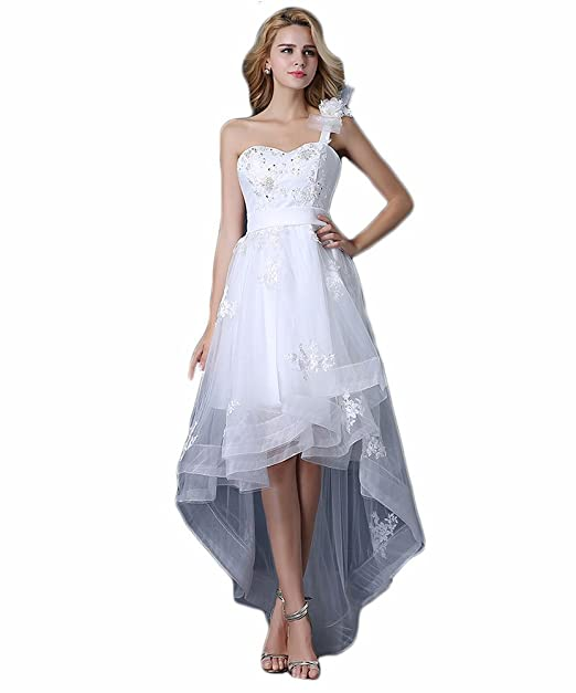 Vivian's Bridal® Hi-Low One Shoulder Flower Beading Wedding Dresses,White4