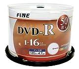 FINE DVD-R 4.7GB 1-16倍速対応 50枚 データ・アナログ映像のパソコンでの記録用・スピンドルケース入り・インクジェットプリンタでのワイド印刷可能 FIDR47-16X50PW