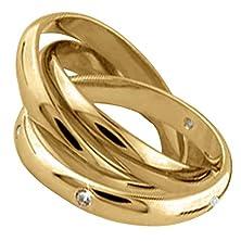 buy 0.02Ct Tdw White Diamonds 14K Gold Rolling Women'S Wedding Band (G-H, Si1-Si2)-(3Mm) Size-4