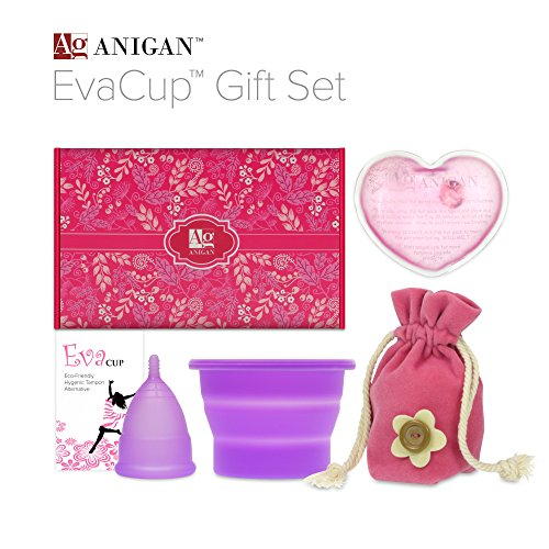 Anigan EvaCup Menstrual Cup Gift Set, Includes: EvaCup, Sterilizing Cup and more, Lavender (Puberty Starter Kit compare prices)