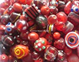Red ASSORTED FANCY BEAD MIX Lampwork Crystal Czech Glass Lucite Acrylic Wood Metal