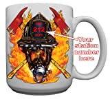Firefighter Helmet Custom Coffee Mug CERAMIC from Redeye Laserworks