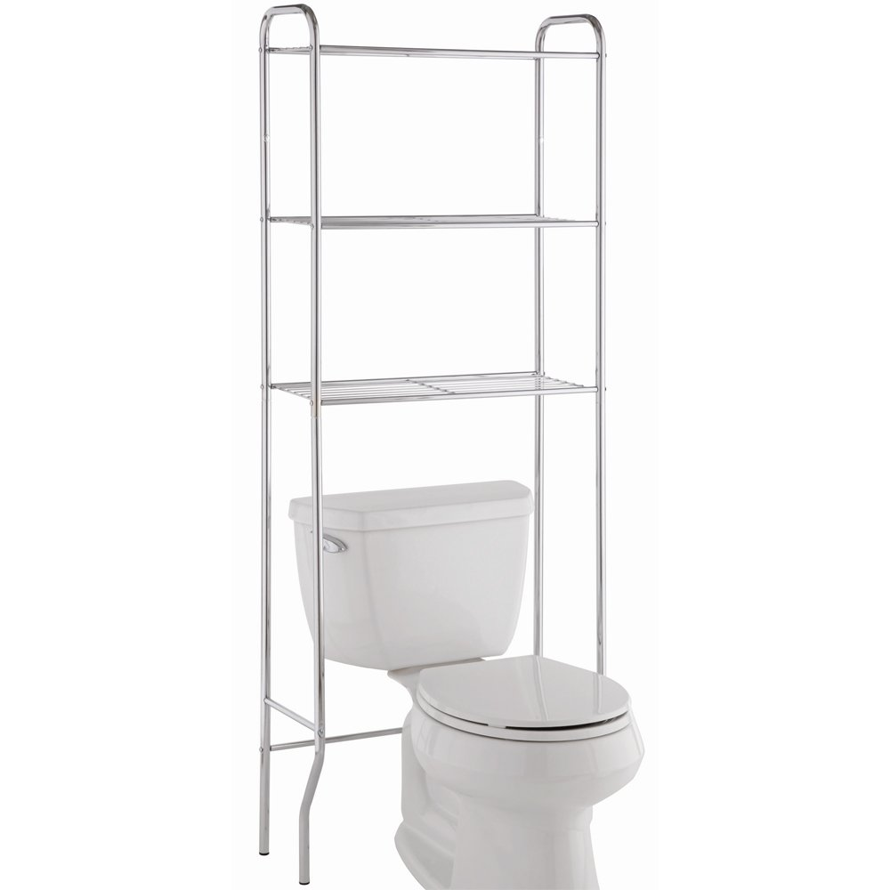 Bathroom shelves and hooks gt bathroom shelves gt three tier glass - Bathroom Metal Toilet Cabinets Space Savers