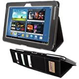 Snugg® Galaxy Note 10.1 (2013) Case - Executive Smart Cover With Card Slots & Lifetime Guarantee (Black Leather) for Samsung Galaxy Note 10.1 (2013)