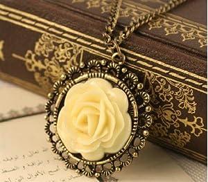 niceEshop(TM) Vintage Unique Bronze classic Flower style long necklace +Free niceEshop Cable Tie