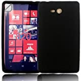Gel Shell Case Cover And Screen Guard For Nokia Lumia 820 / Black