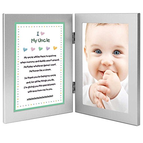 Birthday or Christmas Gift for Uncle - Sweet Poem From Niece or Nephew - Attached 4x6 Frames - Add Photo (Uncle Picture Frame compare prices)