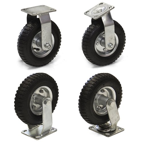 Best Choice Products® Set of (4) 8″ Air Tire Caster Wheels 2pc Rigid 2pc Swivel Heavy Duty Brand New