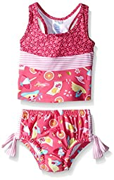 i play. Toddler Girls\' Bow Tankini Swimsuit with Swim Diaper, Hot Pink Cabana, 3T