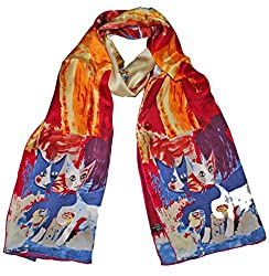 Olina Women's High-Grade Elegant 100% Luxury Long Silk Scarf Shawl (LS013)