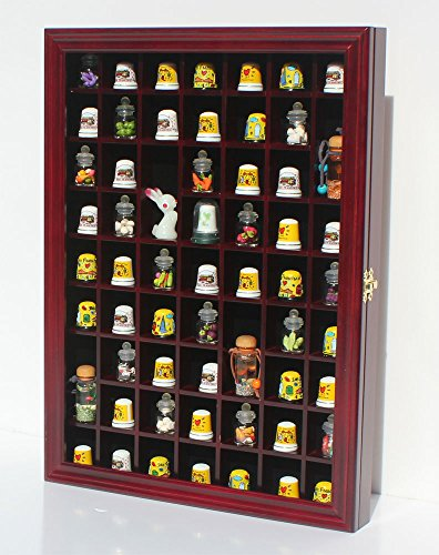 59 Thimble Display Case Wall Shadow Box Cabinet, Glass Door, Solid Wood, TC01-Ch (Glass Door Display Cabinet compare prices)
