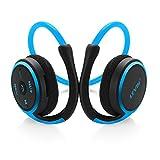 LEVIN Bluetooth 4.1 イヤホン インナーイヤー式 マイクロSD/TFカード対応 ステレオ マイク内蔵 ワイヤレスヘッドフォン ヘッドセット (ブルー+ブラック)