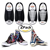 Shackcom No Tie Flat Shoelaces For Kids, Men & Women | Waterproof & Stretchy Silicone Tieless Shoe Laces | For Athletic & Dress Shoes, Hiking Boots & More | Eliminate Loose Shoelace Accidents