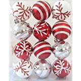 Queens Of Christmas WL-ORN-12PK-SFLN-RE Ball Ornament With Snowflake And Line Glitter Design, Red/White