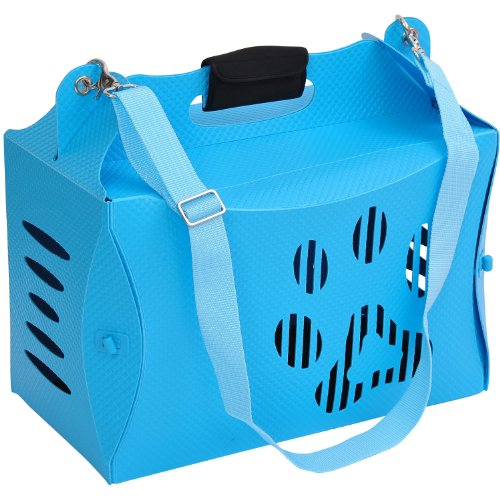 Pawhut Portable Folding Pet / Dog Carrier Tote Bag W/ Shoulder Strap - Blue front-369493
