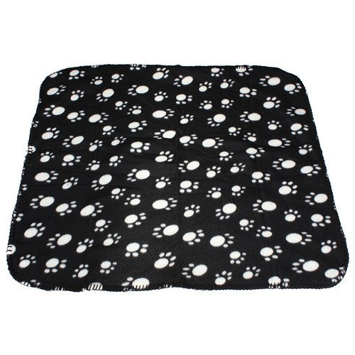 Fleece Pet Soft Blanket Paw Print 27 x 23 inch Lovely Puppy Dog Cat Cozy Mat Animal Bed Cover Pad Throw (Black with White Paw)