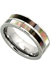 8mm Tungsten 900 TM Wedding Ring Mother of Pearl Inlay Stripes Comfort fit, sizes 7 - 14