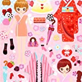 Girl dress up doll stickers geisha kawaii girl