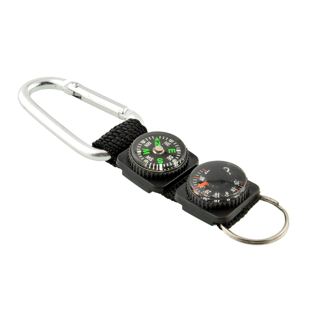 LSD 1x Multifunction Outdoor Survival Tool Camping Hiking Mini Carabiner Keychain Compass Thermometer Key Ring 3 in 1 Black Useful NEW