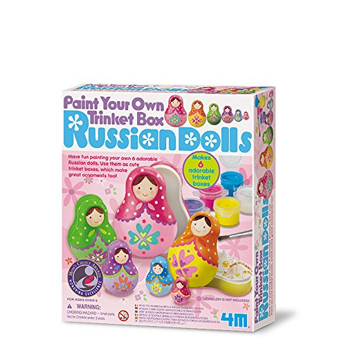 4M - Paint Your Own Trinket Box Russian Dolls, juego de creatividad (004M4617)