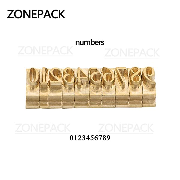 ZONEPACK Copper Brass Stamping Flexible Alphabet Number Symbol Character Stamp Mold Die, Letter Holder, Positioning Plate DIY for Hot Foil Stamping Machine (Number) (Color: Number)