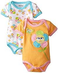 NUBY Baby-Girls Newborn 2 Pack Bodysuit Baby Flower, Orange, 3-6 Months