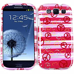 Cell Armor I747-SNAP-TP1307-S Snap-On Case for Samsung Galaxy SIII - Retail Packaging - Transparent Design, Peace Signs and Hearts on Pink