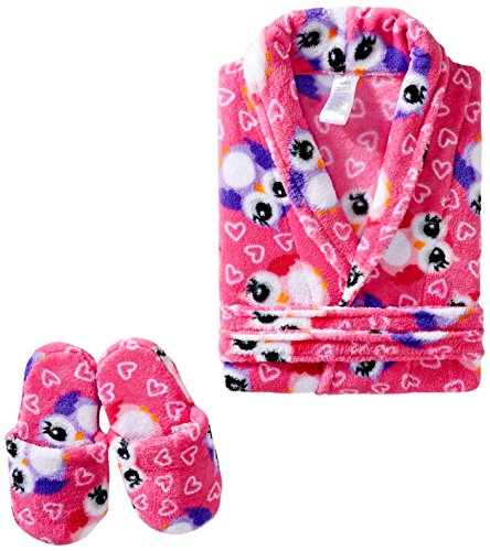 Sleep & Co Big Girls' Owl Robe with Slippers Set