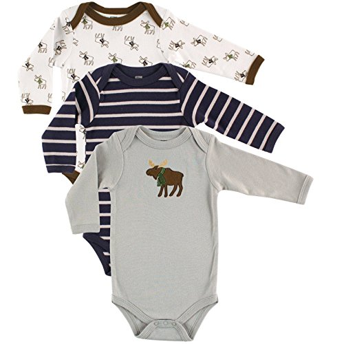 Hudson Baby Boys' 3-Pack Long Sleeve Hanging Bodysuit, Moose, 9-12 Months