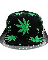 Vert-Feuille de Cannabis Kush Snapback Casquette à visière plate