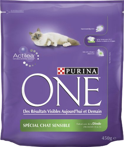 chiens nourriture purina one chat adulte sensible 450 g. Black Bedroom Furniture Sets. Home Design Ideas