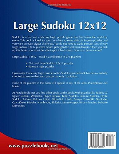 Large Sudoku 12x12 - Hard - Volume 18 - 276 Puzzles