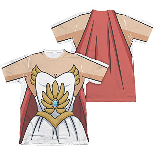 SHE RA/COSTUME (FRONT/BACK PRINT)-ADULT POLY/COTTON S/S TEE-WHITE-SM