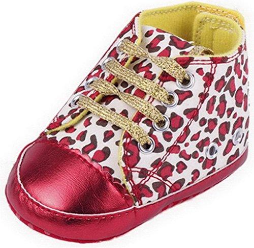 EOZY Chaussures Bébé Fille Premiers Pas Sole Léopard pour Age 12-18 Mois Rouge